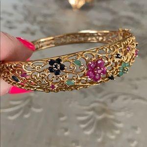 Jewelry - 14k gold plated ruby/ sapphire/emerald bracelet